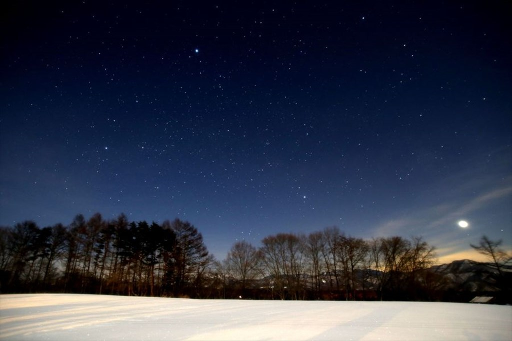 大泉高原 雪原に昇る早朝の夏の大三角と金星 [The early morning Summer Triangle and Venus rising over the snowy field at Oizumi Highland]