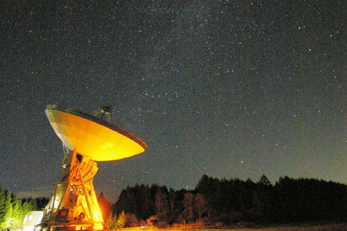 The 45m radio telescope listening carefully to the Milky Way at Nobeyama Radio Observatory